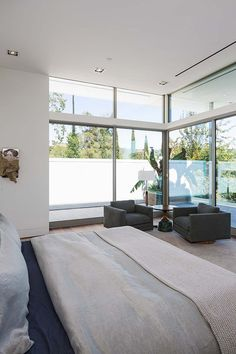 Multi-level glass encased compound in the Hollywood Hills