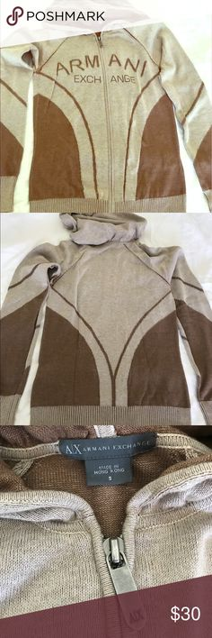 A/X Armani Exchange Hoodie Dark & light brown color combo. Light weight hoodie. There are some stains as pictured, which I'm sure can be cleaned. A/X Armani Exchange Tops Sweatshirts & Hoodies