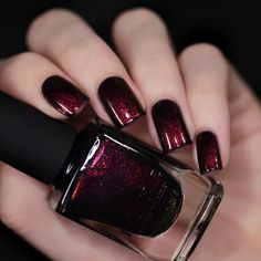 A true knockout, Lights Out is a rich black shimmer nail polish with a fiery cen. Nail Polish Style, Nail Polish Colors, Formula X Nail Polish, Cute Nails, Pretty Nails, Nail Color Trends, Nagellack Design, Do It Yourself Fashion, Dark Nails