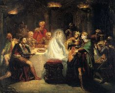 Macbeth saw a vision of Banquo's ghost sitting in his chair at the royal party. This was evidence of his intense guilt and marks the progression of his mental decline.