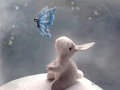 Hey, I found this really awesome Etsy listing at https://www.etsy.com/listing/215267620/felt-bunny-with-butterfly-pose-able
