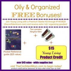 Get your oily on this month with a Premium Starter Kit purchase with Young Living! Get a reference guide, 2 NingXia Nitro and a $15 product credit to be used on future items!! #youngliving #oilyfamilies while supplies last only at TheConfidentMom.com