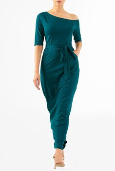 I <3 this One shoulder cotton knit maxi dress from eShakti