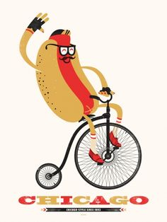 Chicago style hotdog penny farthing screen print poster 1893 hot dog vienna - Delicious Design League