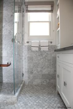 designer marble bathroom // simplified bee #bathrooms #hexagon #tile #marble