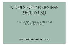 I have spent around 10 years finding what equestrian products work for me and which ones don't. So I have a list of 6 products that I have...