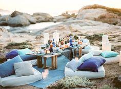 Corsica, France al fresco dinner by the sea
