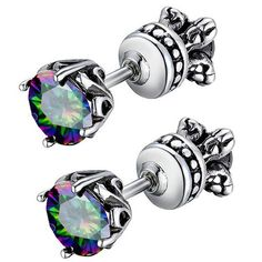 Beydodo Stainless Steel Men Women Stud Earrings Reversible Side, Vintage Rose, Rainbow CZ. Approximate dimension:height 7.39mm(2.91 in);width 7.39mm(2.91 in);length 19.96mm(7.86 in). Photo may have been enlarged and/or enhanced. The black color of the earrings is because of the vintage technology. Stainless steel don't fade and seldom need to maintain it looking new. Ingenious jewelry to who are charming, special, freelance and love diy.