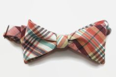 madras freestyle bow tie by dotandace on Etsy