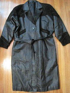 Women Leather Overcoat Black Suede Trim Embellishment. #Unbranded #BasicCoat