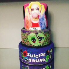 Images about #festaesquadraosuicida tag on instagram Neon Birthday, Cool Birthday Cakes, Rice Krispies, Just Cakes, Joker And Harley Quinn, Cookie Designs, Chocolate Covered Strawberries, Love Cake, Cake Creations