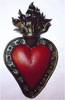 Flaming heart ~ Love it ! I Love Heart, Key To My Heart, Heart Art, Memento Mori, Milagros Charms, Found Object Art, Heart Of Jesus, Heart Logo, Mexican Folk Art