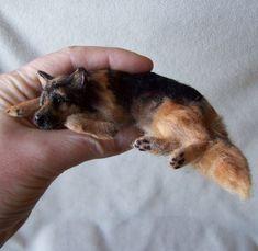 Ooak Miniature Dollhouse Lying German Shepherd Dog by Malga Needle Felted Animals, Felt Animals, Needle Felting, Real Dog, Mini Dogs, Schaefer, Felt Dogs, Polymer Clay Animals, Custom Dog Portraits
