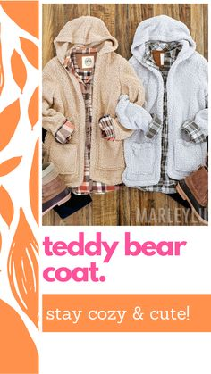 Cozy up on cool days with this teddy bear coat from Marleylilly. The super-soft Sherpa material feels just as inviting as warm blanket. A looser fit allows you to achieve a casual yet chic style. The convenient hood and two roomy pockets in front complete this classic women's Sherpa coat. Layer this soft coat with jeans and a tee for a laid-back outfit or wear it with some leggings and a pair of monogrammed boots to stay extra-warm this winter.