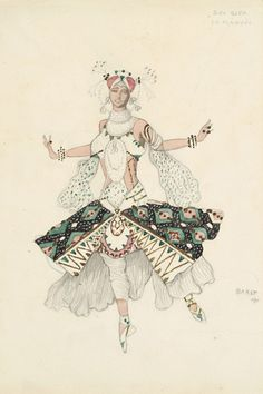 Léon Bakst (1866-1924). Le Dieu Bleu, Costume design for Tamara Karsavina as the Fiancée, 1911