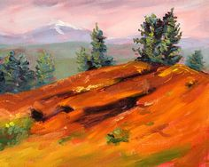 Original Landscape Oil Painting, Central Oregon Scene, Mountain Butte, Trees, Red Green, Evergreen, Volcano, Small 8x10 Canvas, Home Decor