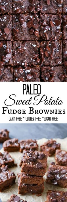 Paleo Sweet Potato Fudge Brownies – made in your blender with sweet potato, coconut flour, and pure maple syrup – gluten-free, dairy-free, paleo-friendly! Healthy Dessert Recipes, Gluten Free Desserts, Dairy Free Recipes, Vegan Desserts, Paleo Recipes, Fun Recipes, Cooker Recipes, Sweet Potato Brownies, Paleo Sweet Potato