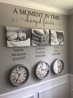 A Moment in time changed forever Photo Picture wall Vinyl Wall Decal sticker let. A Moment in time changed forever Photo Picture wall Vinyl Wall Decal sticker lettering with names and dates custom Family Wall Decor, Hallway Wall Decor, Family Clock, Family Wall Quotes, Family Tree Wall, Canvas Wall Decor, Wall Decal Sticker, Wall Vinyl, Vinyl Wall Quotes