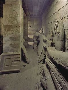 Coffins and carvings in the tomb of Neferseshenre, a vizier of the pharaoh Teti (2355–2343 B.C.