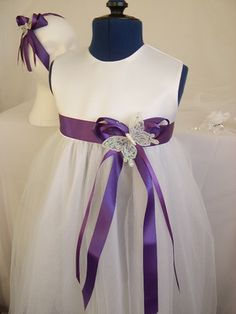 Cadbury Purple Satin Ribbon Butterfly Sash Flowergirl