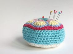 Crochet Pin Cushion with African Flower top. Free pattern and tutorial by Cherry Heart.