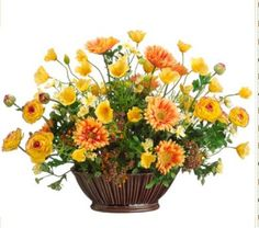 Yellow and Orange Floral Centerpiece with Daisy and Poppy ARWF1195