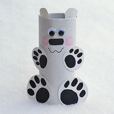 DIY Toilet Paper Roll Polar Bear | AllFreeHolidayCrafts.com