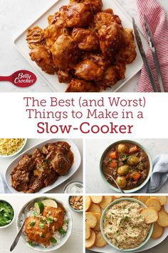 There's nothing your slow cooker can't do—almost! From slow cooker stews to decadent desserts, we've got tips on everything you can make—and everything you might want to pass on—without touching the oven. Slow Cooker Soup, Slow Cooker Chicken, Slow Cooker Recipes, Crockpot Recipes, Yummy Recipes, Cooking Recipes, Dinners, Meals