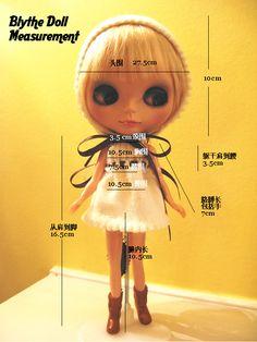 Blythe doll body measurements... Head: 27.5cm = 10-3/4″  Shoulder-heel height = 16.5cm = 6-5/8″ (I like how her head is bigger around than she is tall!)  Bust: 10.5cm = 4-1/8″  Waist: 7.5cm = 2-3/4″ (Licca: 7cm)  Hip: 10.5cm = 4-1/8″ (Licca: 9.75cm) Inseam (leg length): 10.5cm = 4-1/8″ (Licca: 10cm) Torso (shoulder-waist): 3.5cm = 1-3/8″ (Licca: 4cm)  Arm length, including hand: 7cm = 2-3/4″