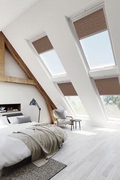 Save money and time with our fantastic skylight blinds which are compatible with VELUX skylight blinds. Available in manual operation and also electric operation. Blinds For Velux Windows, Skylight Blinds, Skylights, Loft Room, Bedroom Loft, Mezzanine Bedroom, Bedroom Decor, Store Velux, Skylight Bedroom