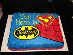 where to buy a super hero cake for a birthday party Superhero Birthday Cake, Superhero Party, Superhero Ideas, 4th Birthday Parties, Birthday Fun, Birthday Cakes, Birthday Ideas, Third Birthday, Marvel Dc Comics