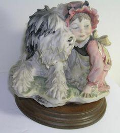 Giuseppe Armani Capodimonte Porcelain Figurine Girl with Sheep Dog - Signed