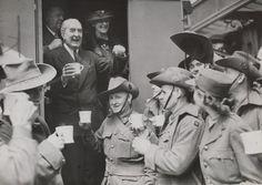   High Commissioner Mr Bruce drinking tea with 2nd A.I.F. men in London, 1940. #tea #vintage