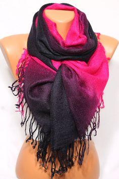 Black Purple Fuchsia Scarf Shawl Fall Winter Fashion por escherpe