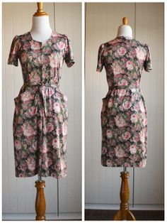 Vintage 50s Charming Cabbage Rose Floral Dress// by TheRubyOlive, $20.00