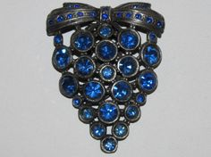 Early Vintage 1940's Royal Blue Rhinestone Grape Cluster Fur/Dress Clip 2 1/2""