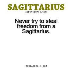 Never try to steal freedom from a Sagittarius. People have tried this with me. It didn't work very well for them :)
