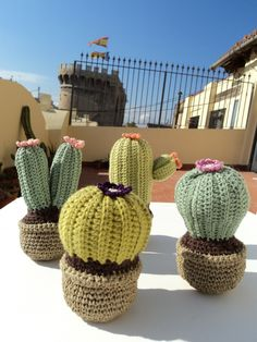 tons of versions of Cactus Crochet that you can make - love all of these! so many cute Crochet Cactus patterns to choose from, TONS of project ideas! Crochet Cactus, Crochet Wool, Crochet Dishcloths, Cute Crochet, Cactus Craft, Knitted Flowers, Bee Crafts, Crochet Projects, Creations