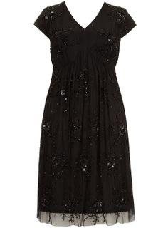 Sorrento Black V-Neck Beaded Dress - Sorrento - Clothing - Evans