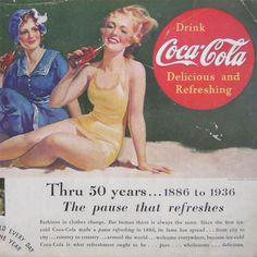 Vintage 1936 Coca Cola Coke Ad Advertisement Bathing Suits Beauties Glass Bottle #CocaCola