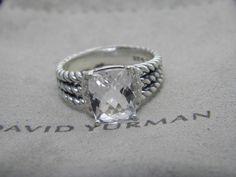 David Yurman Petite Wheaton Ring with White Topaz and Diamonds Size 7.5 #DavidYurman #Cocktail