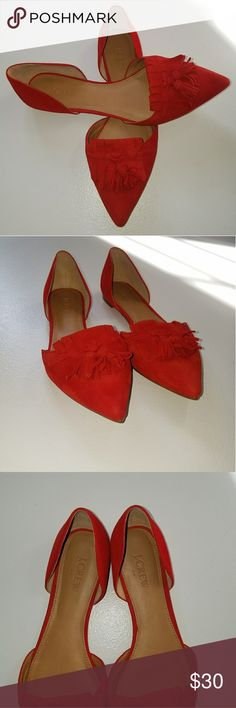 J. Crew Red Suede Flats Stunning J. Crew Factory Suede Flats in size 8.5. Adorable tassle embelishments. Fantastic statement piece! Excellent used condition. ❤ J. Crew Shoes Flats & Loafers