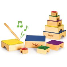 Kids can create their own music with this fun musical toy. The P'kolino xylophone consists of 5 colourful musical blocks that can be placed in any order allowing kids to create their own melodies, while teaching them about shape, colour and tone. Toddler Toys, Kids Toys, Toddler Stuff, Toddler Fun, Montessori, Teaching Shapes, Educational Baby Toys, Stacking Toys, Natural Toys