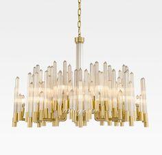 MI-GO 米高  条纹梅花玻璃棒古铜色吊灯 Fringe plum glass rod Bronze Chandelier