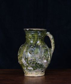 A French Medieval Green-Glazed Jug