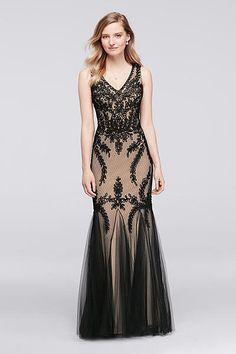 Sleeveless Long Soutache Dress with Skirt Godets 57058