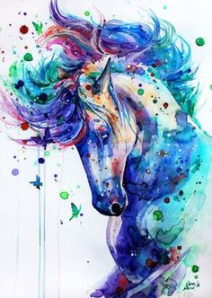 — Watercolor Horse. #painting #art #paint #blue #purple #pink #green #colors #coulors