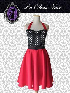 Vestido Lucy FNLB c/rojo #faldaplato #pinup #piupdress #pinupstyle #retro #vintage #black #red #escotecorazon #rojo #negro #lunares #polkadot  #ropa #indumentaria #pinup