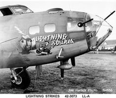 """serial number """"Lightning Strikes"""" of the Bomb Squadron, Bomb Group. Had 23 missions. Crashed on 21 February, 1944 on a mission over Leipzig. New Aircraft, Military Aircraft, Air Festival, Aircraft Painting, Airplane Art, Ww2 Planes, Vintage Airplanes, Military Art, Military History"""