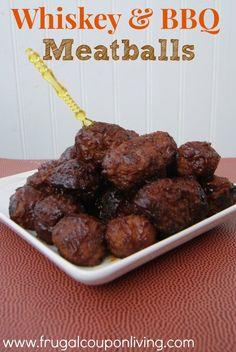 Whiskey & BBQ Meatballs Recipe – Football Gameday Appetizer #recipe #football#bowlgame http://www.frugalcouponliving.com/2013/12/31/whiskey-bbq-meatballs-recipe-football-gameday-appetizers/